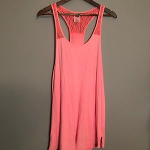 PINK Victoria's Secret Coral Lace Tank Top Large